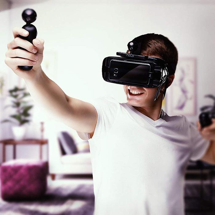 Manettes et Détecteur de mouvements pour Casque ou Lunettes de Réalité virtuelle Compatible avec Smartphones, PC et SteamVR